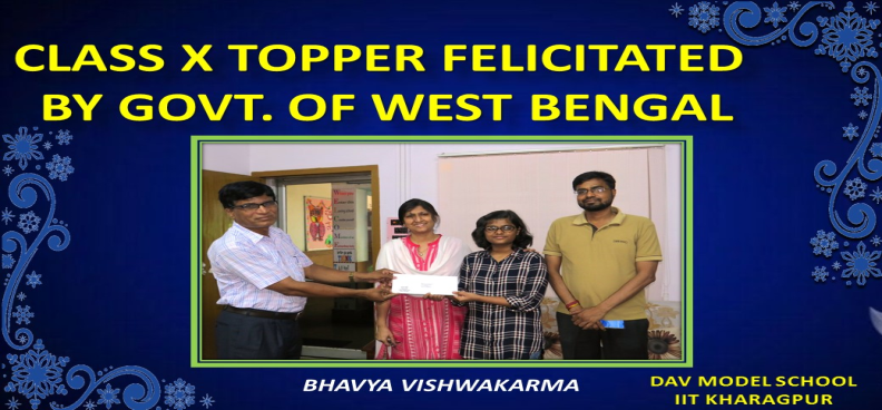 CLASS X TOPPER FELICITATED  BY GOVT. OF WEST BENGAL